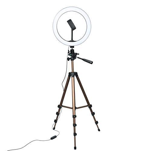 Senmubery Luz de Anillo Selfie de 10 Pulgadas con TríPode de 50 Pulgadas y Soporte para TeléFono para Maquillaje Live Stream, Luz de Anillo de CáMara LED con Obturador Remoto