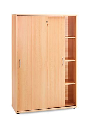 K-Möbel Schiebetürenschrank in Buche (153x100x39,5cm); perfekt für das Büro; abschliessbar; ordnerhohe Fächer 4OH