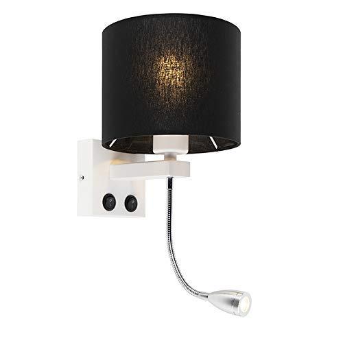 YXZQ Applique/Applique Murale Moderne Moderne Blanc Avec Abat-Jour Noir - Brescia/Tissu Rond LED MAX. 1 x 1 Watt/Éclairage intérieur/Lumières/Lampes/Salon/Cuisine
