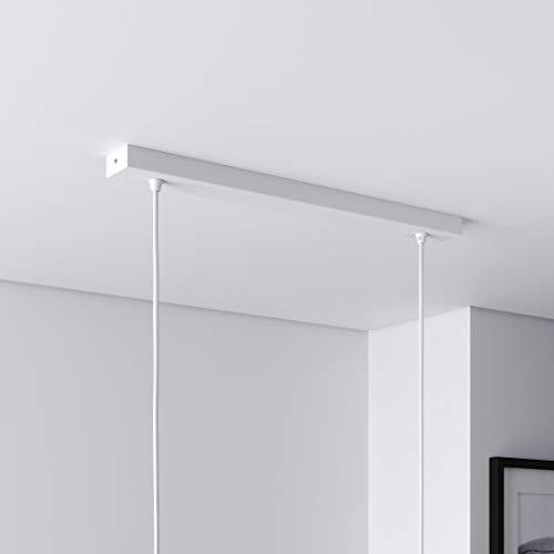 Baldachin für Lampe Rechteckig, Abzweigdose mit 2 Kabelauslässen (L 50 x H 2.5 x B 5 cm), WEISS - ideal für Esstisch, inkl. WAGO-Klemmen