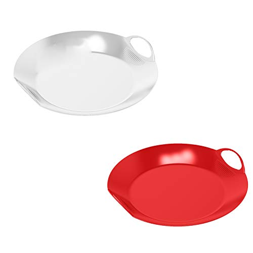 elasto Robuster Schneeteller Olymp Schneerutscher 45cm Poporutscher Rodelteller für Groß und Klein Schlitten Rutschteller (2er Set - Rot und Weiß)