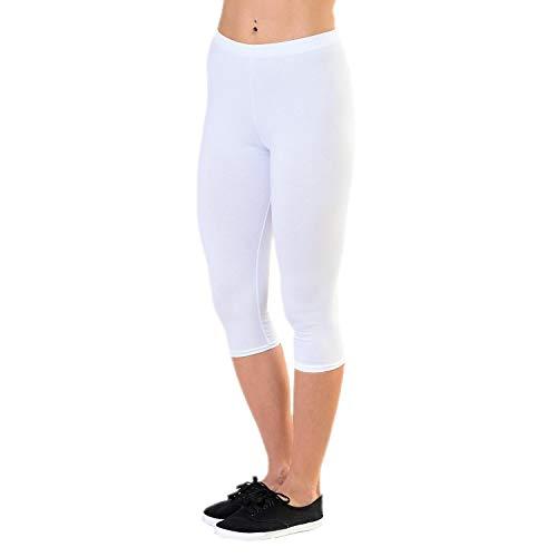 Alkato Damen Leggings 3/4 Capri Blickdicht Stretch, Farbe: Weiß, Größe: 40