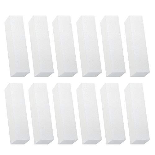 Huayue 12 Stück Weiß Buffer Schleifblöcke Nagelfeilen Schleifblöcke Schwamm Nagelfeile Buffer für Nagelkunst Nagel Polierblöcke für Nageldesign Puffer Buffing Sanding als ManiküRe Werkzeug
