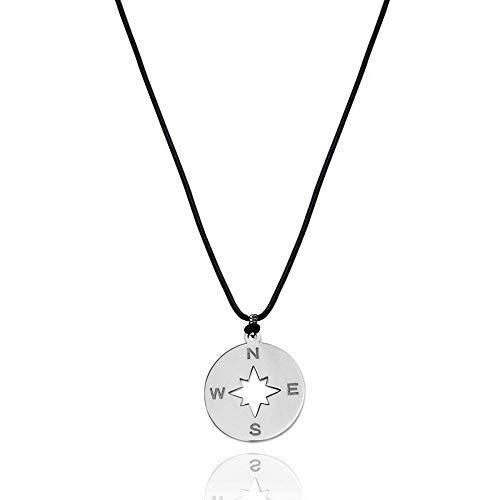 Gargantilla de la Suerte Corta Mujer y Hombre, Collar Brújula Protección Amuleto, Colgante con Collar de Moda Joyería Inoxidable