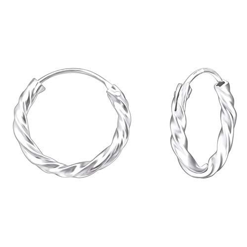 Monkimau Damen Ohrringe Creolen Gedreht aus 925 Sterling Silver echt Silber mit Durchmesser 14mm