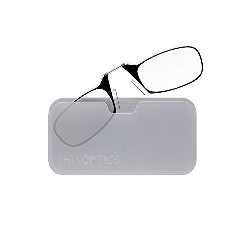 ThinOptics Universal Pod Rectangular Reading Glasses, Black Frames/White Case, 2.5 x