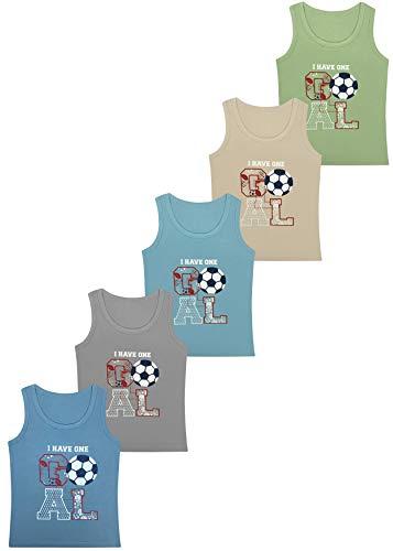 PiriModa 5 Pack Jungen Unterhemd Baumwolle Tank Top (140-146 (10-11Jahre), Modell 11)