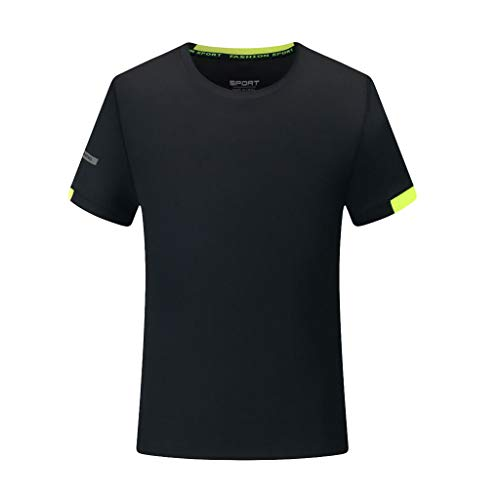 T-Shirt Herren Sommer Einfarbig Atmungsaktiv Top Lässiges O-Neck Fitness Sport Schnell Trocknend Outdoor Jogging Bluse Männer Trikot Hemd Schwarz Shirt