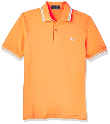Fred Perry Poloshirt Twin Tipped Shirt M12 Slim Fit Orange Größe M Made in England