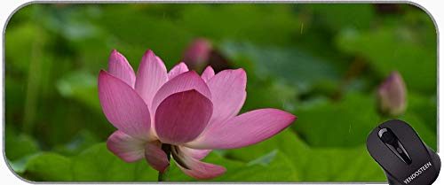 Tema del SPA con la Flor de Lino Lotus Gran Mousepad con un paño con Textura Premium, Estera de Escritorio de Flores con Borde Cosido