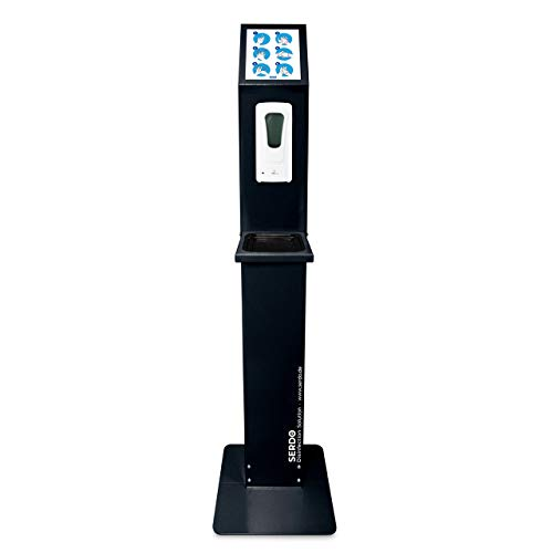 SERDO Desinfektionssäule mit Sensor - automatischer Desinfektionsmittelspender – berührungslos, mobil, freistehend mit stabilem Standfuß und Auffangschale.