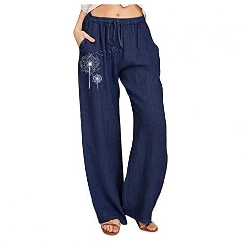 Damen-Yogahose im Bohemian-Stil, locker, bequemer Leinenstoff, weite Beine, modisch, Blumendruck, elastische Taille, Trainingshose, dunkelblau, L