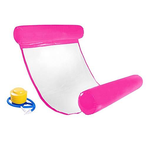 INTVN Pool Hängematte Wasser-Hängematte Schwimmliege Wasserliege aufblasbares Kopf- & Fußteil, Luftmatratze Pool Lounge für Wasserspaß Liege für Erwachsen Sommer im Freienschwimmen (Rose Red)