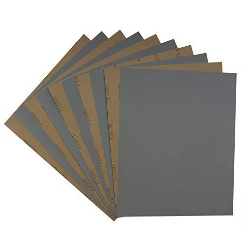 Schleifpapier Set Körnung 2000 Schileifbogen 9x11 Zoll Nass-und-Trocken 10 stück Schleifblätter für Holzarbeiten,Rostentfernung, Metall,Glas Von MAXMAN