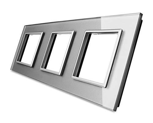 LIVOLO Steckdosen Glasrahmen Spritzwasserschutz Glasblende grau (3 Fach Rahmen grau VL-C7-SR/SR/SR-15)