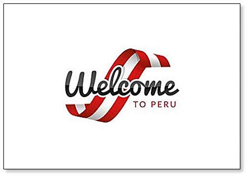 Kühlschrankmagnet, Motiv: Welcome to Peru mit Flagge