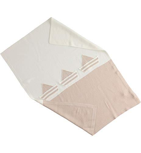 MINIBANDA Manta para cochecito de algodón con barras de color crema/beige para bebé 2309