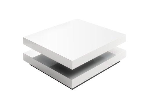 Robas Lund Couchtisch Wohnzimmertisch Weiß Hochglanz drehbar 360°, Hugo BxHxT 75 x 30 x 75 cm