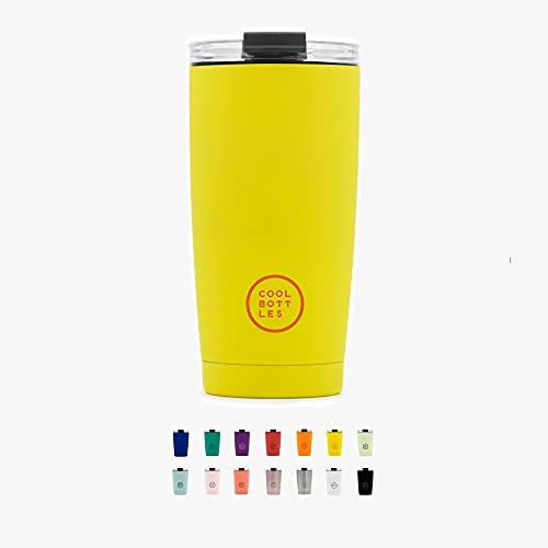 Cool Bottles - Vaso Térmico de Acero Inoxidable 550 ml - Vivid Yellow - Tapa Hermética - Vaso para Café - Bebidas Frías 16 Horas y Calientes 8 Horas - Libre de BPA