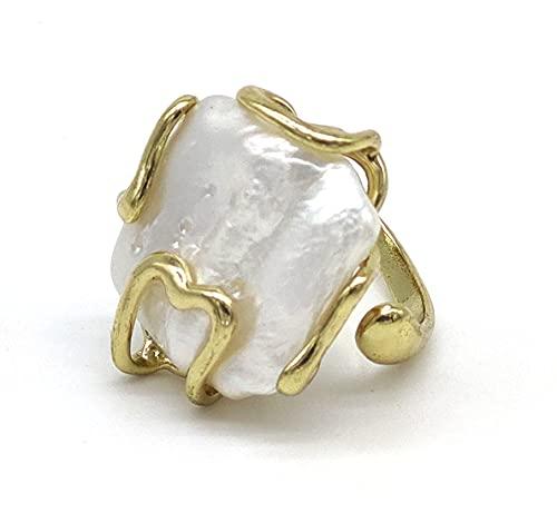 Anello regolabile con perla di fiume barocca, dorato, fatto a mano, pietre dure naturali
