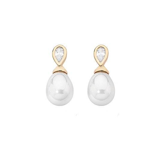 Majorica Kurz-Ohrringe, 8x 10mm, birnenform, weiße Perlen und Zirkone
