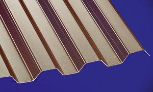 Polycarbonat Wellplatten Profilplatten Trapez 76/18 bronce ohne Struktur 6000 x 1040 mm