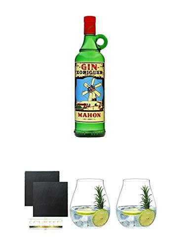 Gin Xoriguer Mahon Gin 0,7 Liter + Schiefer Glasuntersetzer eckig ca. 9,5 cm Ø 2 Stück + Gin Tonic Glas - 5414/67 + Gin Tonic Glas - 5414/67