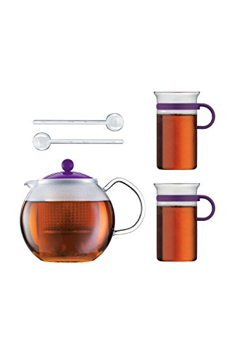 Bodum Teeset Assam 5-teilig - 1,0l Teebereiter mit 2 0,3 L Glastassen und 2 Kunststofflöffel - Farbe violett - AK1830-XY-Y16-1
