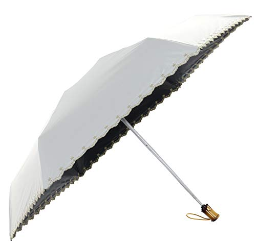 RoRoLin 日傘 ワンタッチ自動開閉 折りたたみ傘 軽量 UVカット 晴雨兼用 レディース (ホワイト)