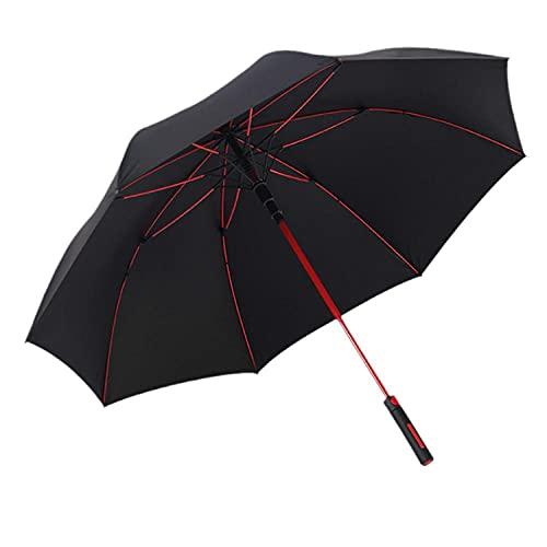 Automatische Business Golf Regenschirm Faser Regenschirm Rack Farbe Fallschirm Farbiger chinesischer Stock Sonnencreme Regenschirm-Schwarz_93cm