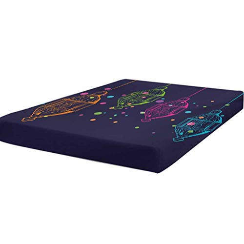LCGGDB Lantern Bedding Fitted Sheet King Size,Candles in Night Sketch in with Dots n Motifs Soft Brushed Microfiber - Deep Pockets,1 Bed Fitted Sheet Only,Dark Purple Multicolor