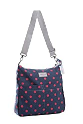 Two prints in one bag. You can choose which side to carry. With two large front pockets and two large inside pockets. The dot side was made of strong canvas, the other side was made of waterproof composite material. Size: 24cm x 34cm x 10cm Detachabl...