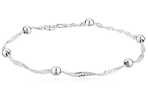 1pc Sterling Silver Anklet Bracelet Singapore - 10 inch Cute Chain 3mm Ball Gifts for Women Girls SSA6-B