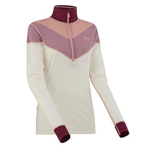 Kari Traa Women's Kink Base Layer Top - Half Zip Merino Wool Blend Thermal Shirt Port Medium
