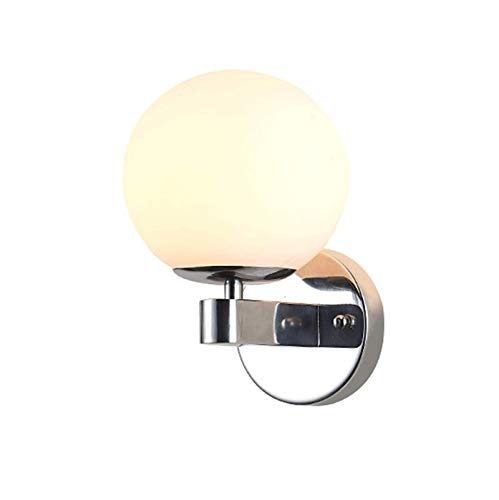 CHFQ Modern Globe Wall Lamp, Glass Wall Light Nordic Wall Mounted Bedside Lamp Metal Creative Simple Wall Light Sconce for Indoor Wall Lighting Bedroom Living Room Aisle Bathroom