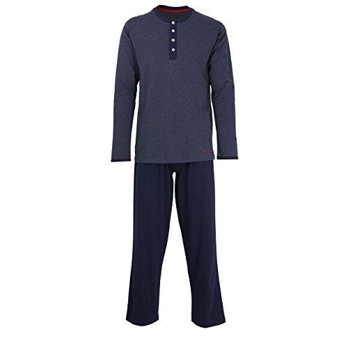 TOM TAILOR Herren Pyjama, Schlafanzug, Shirt und Hose, Langarm, Baumwolle, Single Jersey, blau, Melange 52