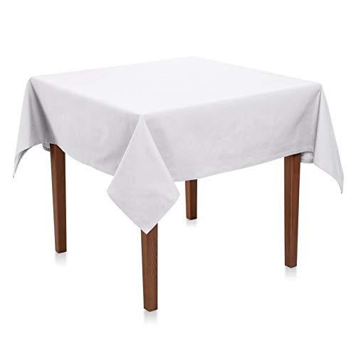 Hans-Textil-Shop Tischdecke 80x80 cm Weiß Baumwolle Linon (Kochfest, Wiederverwendbar, Pflegeleicht, Nachhaltig, Schadstoffgeprüfter Stoff)