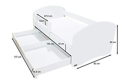 Clamaro 'Schlummerland' 140 x 70 Kinderbett mit Rausfallschutz und Aufkleber, mit Bettkasten auf Rollen, Matratze und Lattenrost, Kantenschutzleisten - Bett Weiß, Motiv: 01 (ohne Aufkleber)