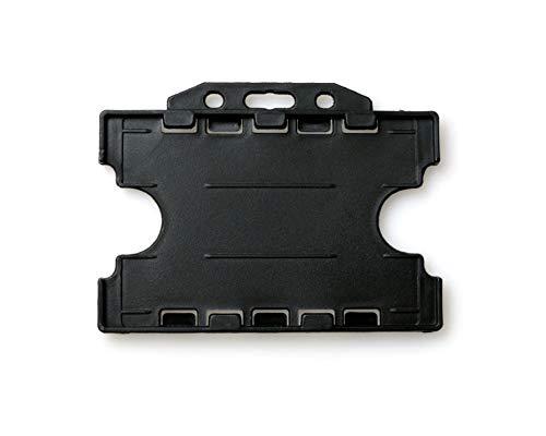 ALG ID Cards® Soporte rígido de doble cara para tarjeta de identificación (horizontal/horizontal) (54 mm x 86 mm CR80), color negro