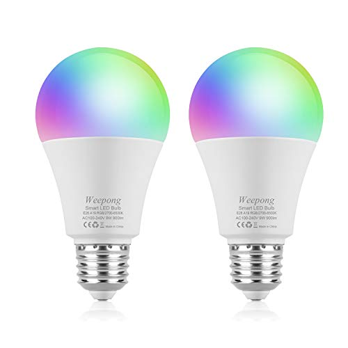 Weepong 9W Wifi Smart Light Bulb, RGBW Color Change LED Light Bulb Compatible with Alexa Google Home Siri IFTTT(No Hub Required), Dimmable Multicolor Light Bulb, A19 E26/E27 80W Equivalent (2 pack)