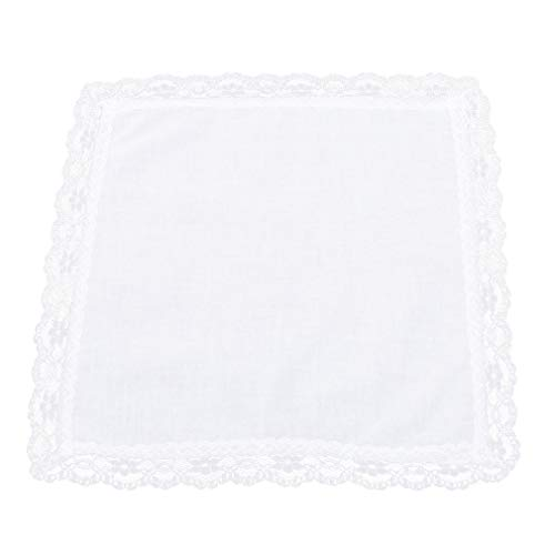 L_shop Pañuelo de borde de encaje blanco sólido de la boda de algodón pañuelos de la decoración de la boda servilletas de tela de mujer regalos de boda