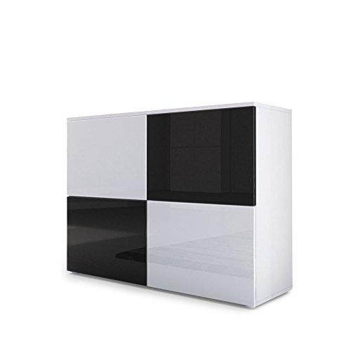 Cómoda Rova, Cuerpo en Blanco Mate/Puertas en Blanco de Alto Brillo y Negro de Alto Brillo