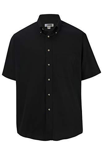 Edwards Men's Easy Care Short Sleeve POPLIN Shirt Large Black