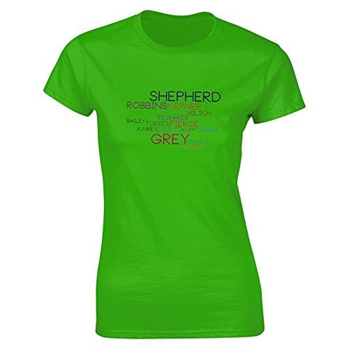 Liuqy Grey's Names - Camiseta de yoga para mujer, verde, XL