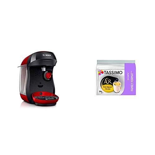 Bosch Electroménager TASSIMO Happy TAS1003 Machine à boissons chaudes, 1400 W, 0.7 litre, Rouge/Noir + Tassimo L'OR Petit Déjeuner Classic 120 boissons (Pack de 5x24 Tdisc)