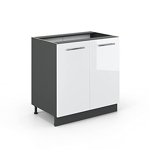 Vicco Spülenunterschrank 80 cm Küchenschrank Hängeschrank Küchenzeile Fame-Line (Weiß Hochglanz)