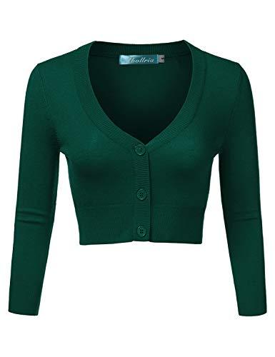 Abollria Damen Bolero Kurze Strickjacke Langarm Cardigan Elegante Jacke V Ausschnitt mit Knopf,Grün,XXL