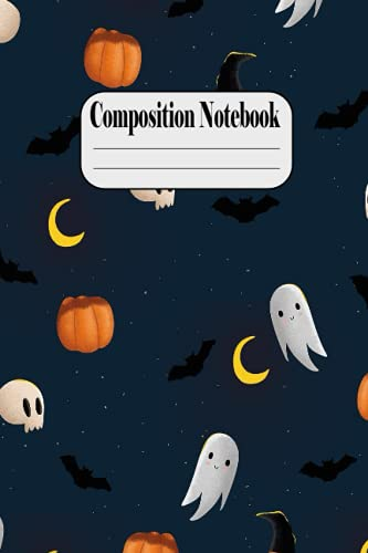 Composition Notebook: Little monstre Pumpkins on Halloween Night - Halloween Orange and White Kawaii Kitty Cat Wide-Ruled Composition Notebook - Ruled ... Stylized With Spooky Boo Ghost , Great Gift