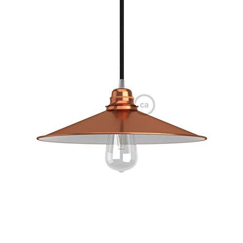 Creative-Cables PAM13VRL - Pantalla para lámpara Swing E27, plato cóncavo, revestimiento de cobre, marrón