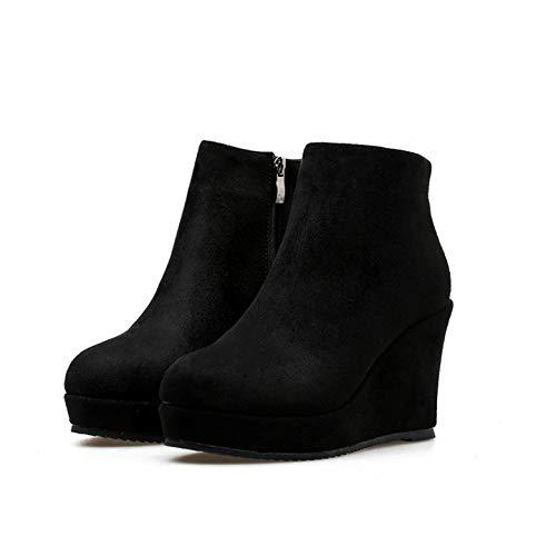 Shukun enkellaarsjes Women'S Booties herfst en winter waterdicht platform helling met mat Martin laarzen hoge hak platform laarzen en kaal laarzen